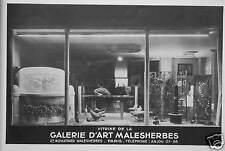 PUBLICITÉ 1935 VITRINE DE LA GALERIE D'ART MALESHERBES PARIS