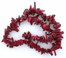 Red Natural Dyed Coral 14 Inch Strand Chip Nugget Bead Gem Stone Gemstone cb38