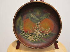 ANTIQUE AMERICAN FOLK ART HAND PAINTED PIONEER BOWL ORANGES FRUIT STILL LIFE WOW