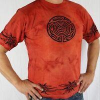 T-shirt Batique coton CELTIQUE rouge inde goa hippie Psy Transe taille L HOMME
