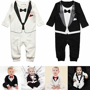 Baby Toddler Boy Gentleman Romper Photo Bodysuits Formal Clothes Outfit Dress