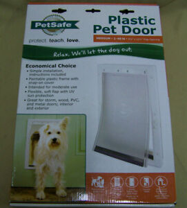 "PetSafe plastic Pet Door Size Medium 1-40 lb doggie cat door w 8x12"" flap"