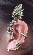 SILVER COLOUR PUNK GOTHIC DRAGON CLIP EARRING VERY FASHIONABLE - UK SELLER