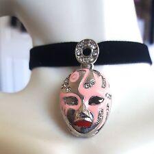 Pink Mask Black Velvet Silver Circle  Zircon Crystal Choker Necklace Self Tie