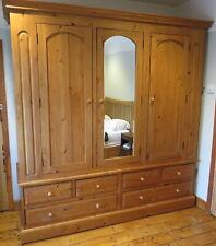 Large Sold Pine Wardrobe | 3 Door | Mirror | Dismantles for transport