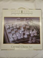 Fifth Avenue Crystal Glass Chess Set NIB New in Box and Complete