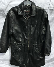Wilsons Heavy Black Leather Jacket Coat Quilted Lining Men's Medium GUC