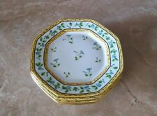 """A. RAYNAUD CERALENE LIMOGES MORNIG GLORY RING OCTAGONAL 8.5"""" LUNCHEON PLATES"""