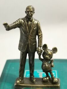 2001 WDCC Partners Mini Bronze Statue - Walt Disney and Mickey Mouse New