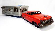 VINT 1950'S SSS/JAPAN PRESSED STEEL RED ENAMEL FRICTION TOY CAR W/SILVER CAMPER