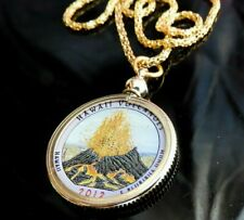 "2012 VOLCANO Hawaii Quarter Pendant & 17"" Gold Plate Necklace & Box Handmade USA"