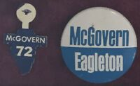 1972 McGovern Eagleton DNC DEMOCRATIC PARTY Illinois '72 lapel tab pin Democrat