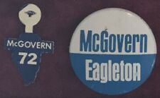 ILLINOIS DEMOCRAT McGovern / Eagleton 1972 Presidential Campaign Tab + Pin SET
