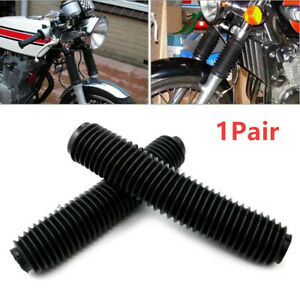 2PCS Black Fork Dust Covers Gaiters Boots Shock Rubber Fit Motorcycle Dirt Bike