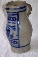 großer Krug Kanne aus Westerwälder Steinzeug Salzglasur blau