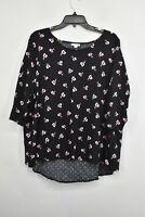 J Jill Womens Black Scoop Neck Floral Print Long Sleeve Shirt Cotton Size 1X