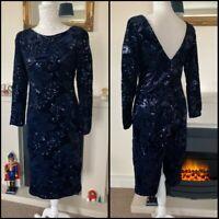 Monsoon Navy Blue Velvet Sequin Evening Dress Size 10uk Embroidered Knee L VGC