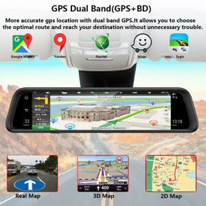 12Inch IPS LCD 4G WIFI Car Rearview Mirror DVR Recorder Android GPS FHD 4xCamera