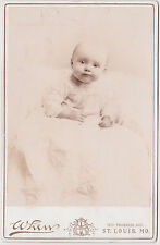 Real Photo-Cabinet Card-Lovely Wide Eyed Baby-St.Louis-Whew-H. Holborn-1885