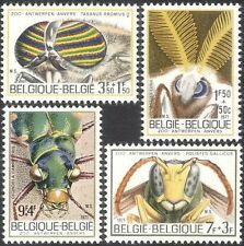 Belgium**INSECTS-Luna Moth-Wasp Bee-Ox Fly-Tiger Beetle-4vals-1971-Insecten-MNH