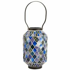 BLUE MOSAIC TILE PILLAR CANDLE HOLDER, LANTERN, NEW, GLASS/IRON, INDOOR/OUT