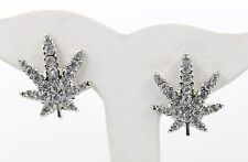"New Marijuana Leaf Weed Silver Tone Clear Rhinestone 1"" Stud Pierced Earrings"