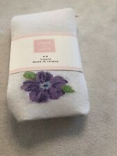 New In Package Girls Janie & Jack Tea Time Lavender Blue Floral Tights Sz 4-5