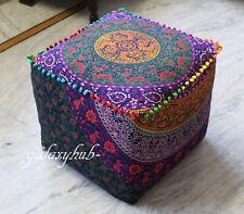 "18X18"" Square Multi Mandala Decorative Pouf Cover Cotton Seating Ottoman Covers"