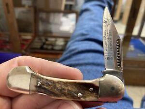 GERMAN EYE BRAND SOLINGEN 2 EYE STAG LOCKBACK CANOE POCKET KNIFE UNUSED