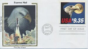 #1909 $9.35 Express Mail Eagle Colorano Silk cachet First Day cover