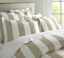 Hamptons Doona Duvet King Quilt Cover Set Taupe` And White 210 x 240 cm