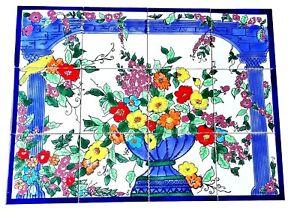 "Tolles Fliesenbild ""Italia"" 60x45 handbemalte Fliesen Keramikfliesen Mediterran"