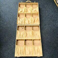 Vintage Cream Leather (Vellum) Travelling Shoe Suit Case - 12 Pairs