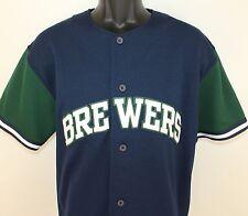 Milwaukee Brewers pre-owned jersey Medium navy blue green Starter MLB baseball
