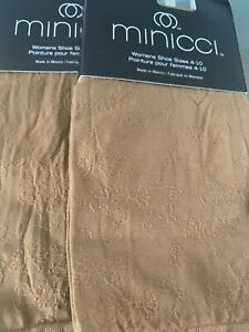 Women Minicci Nylon Trouser Socks 2 Pairs Brown/Ivory/Gray NO SHIPPING for Addtn