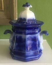 Vintage Flow Blue Lidded Sugar Bowl Large Handles Lid