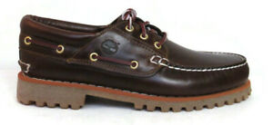 TIMBERLAND 6500A TFO CLASSIC 3 EYE LUG MEN'S BROWN LEATHER BOAT SHOES