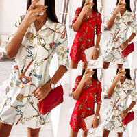 Womens Printed Button-Down Shirt Dress Lady Long Sleeve Tunic Tops Casual Blouse