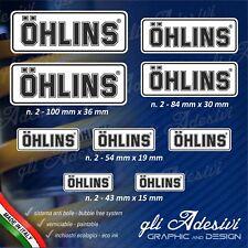 Set 9 Adesivi OHLINS moto auto Bianco e Nero