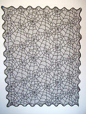"Black Spider Web Table Cloth Lace 40"" X 30"" Scalloped Edge Halloween Shawl Goth"