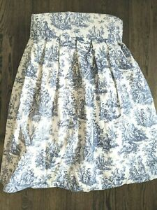 Waverly Toile Blue Queen Bed Skirt Country Life Custom Made 26.5in Drop