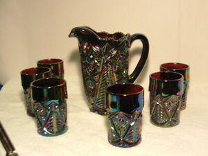 Antique  Carnival Glass - Smith glass,Pitcher /6 tumblers