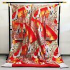 Japanese Kimono Robe Dress Cardigan Jacket Crane Pattern Uchikake Silk Gold N604
