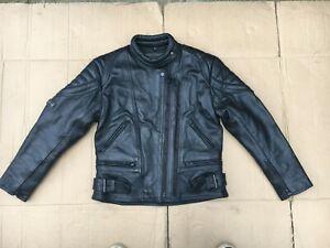 "SKINTAN Mens Leather Motorbike Motorcycle Jacket Size UK 34"" to 36"" Chest (H144)"