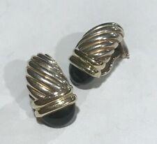 David Yurman Black Onyx Shrimp Cable Earrings Modified Omega Backs 14K 925