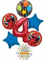 Spider-man Party Supplies 4th Birthday Spiderman in Action Balloon Bouquet De...