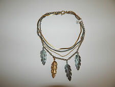FREE PEOPLE NECKLACE FEATHER MULTI CHAIN MULTI METALS STATEMENT NEW #225