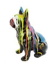 50 cm Statue  chien en résine bouledogue Français multicolore Martin