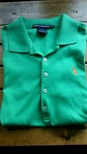 MINT RALPH LAUREN LADIES SS GREEN POLO GOLF SHIRT SLIM FIT MEDIUM PONY