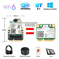 Wireless Intel AX200NGW BT5.1 M.2 NGFF Network Card to half Mini PCIE PC Adapter
